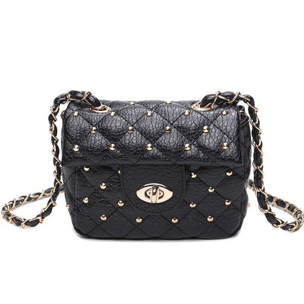Quilted Rivet Chains Crossbody Bag - BLACK