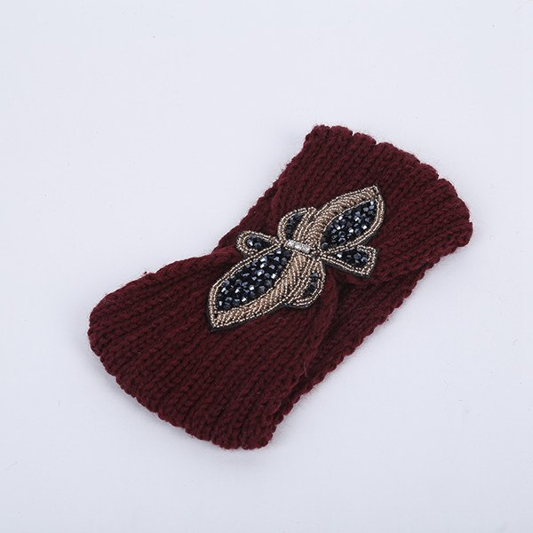 Rhinestone Bowknot Infinite Knitted Headband - CHOCOLATE