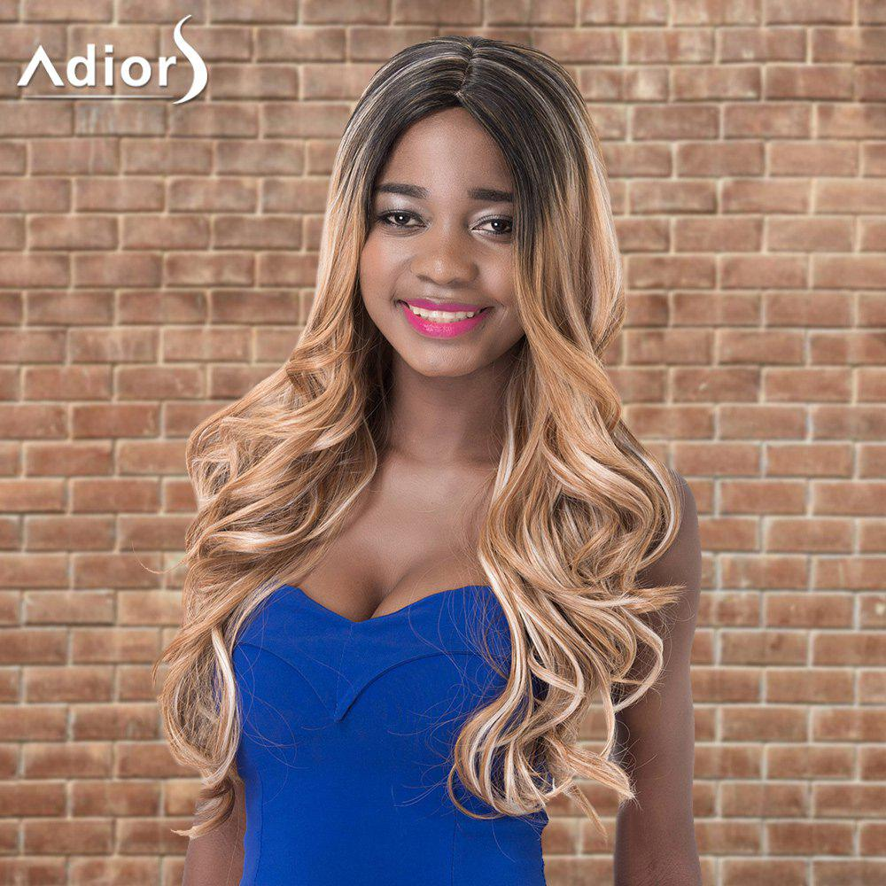 Adiors Long Wavy Middle Parting Highlight Shaggy Synthetic Wig