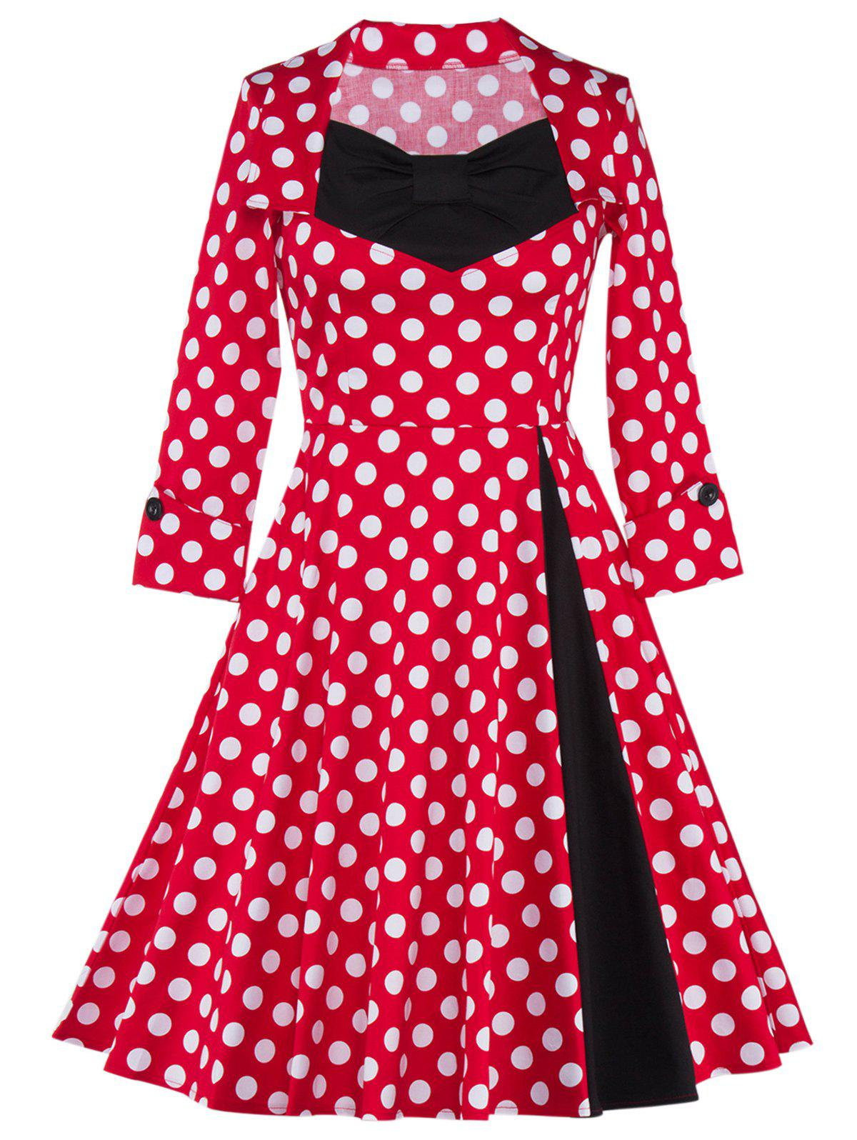 Bowknot Polka Dot Insert Swing Dress lace insert swing dress
