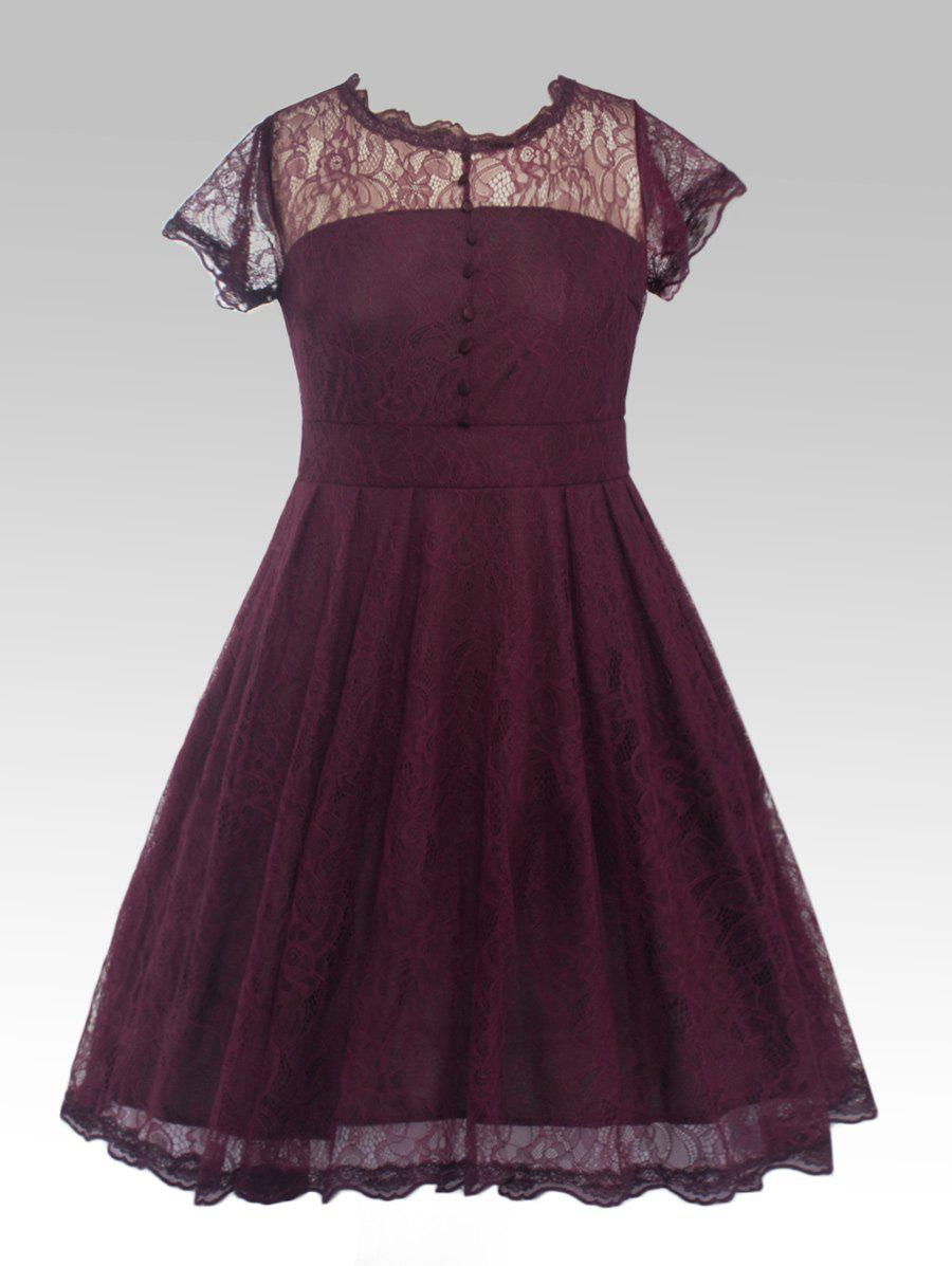 Buttoned Swing Floral Lace DressWomen<br><br><br>Size: 4XL<br>Color: PURPLISH RED