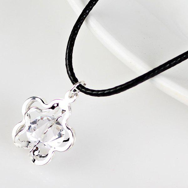 Faux Leather Rope Rhinestone Flower NecklaceJewelry<br><br><br>Color: SILVER