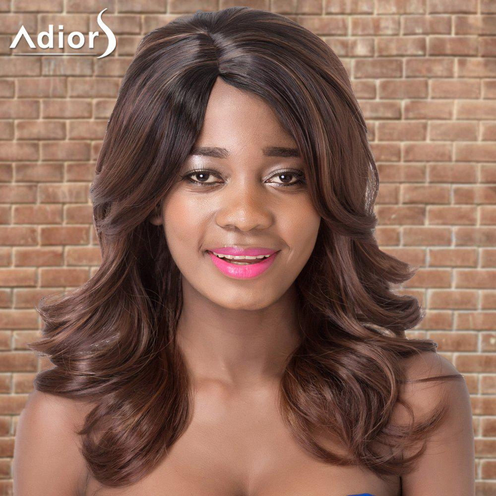 Adiors Long Side Parting Colormix Wavy Synthetic WigHair<br><br><br>Color: DEEP BROWN