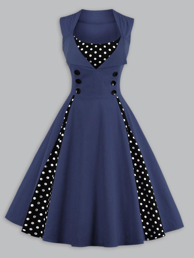 Robe Swing Vintage Empiècement à Pois Grande Taille - Cadetblue XL
