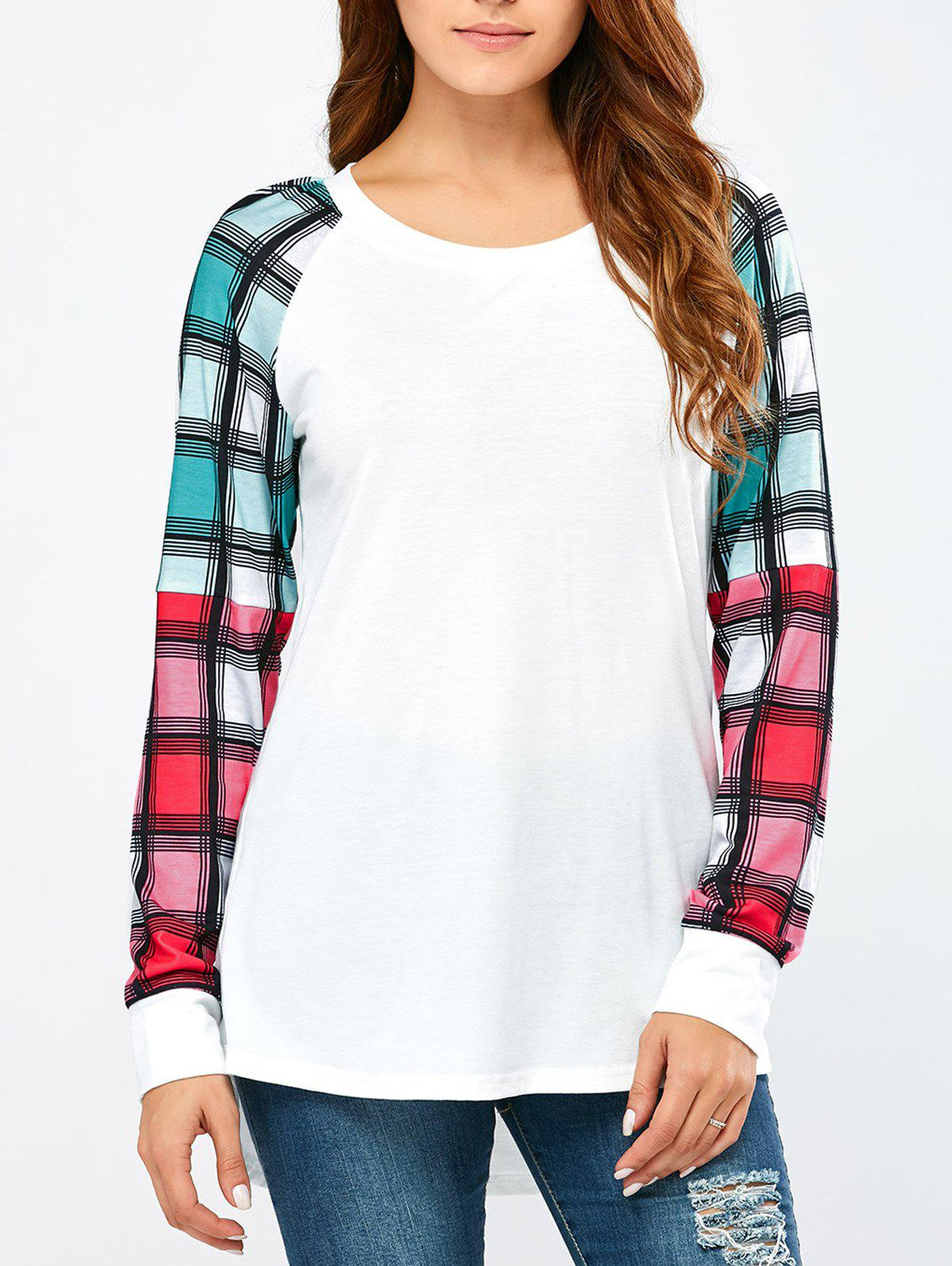 Colorful Plaid Sleeve TeeWomen<br><br><br>Size: L<br>Color: WHITE