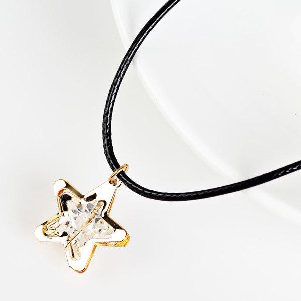 Faux Leather Rope Rhinestone Star NecklaceJewelry<br><br><br>Color: GOLDEN