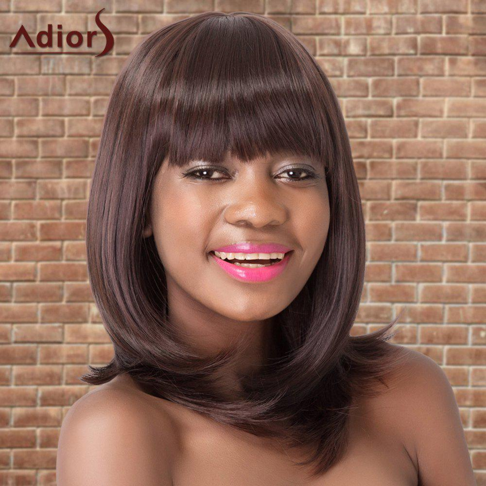 Adiors Neat Bang Medium Straight Colormix Synthetic WigHair<br><br><br>Color: DEEP BROWN