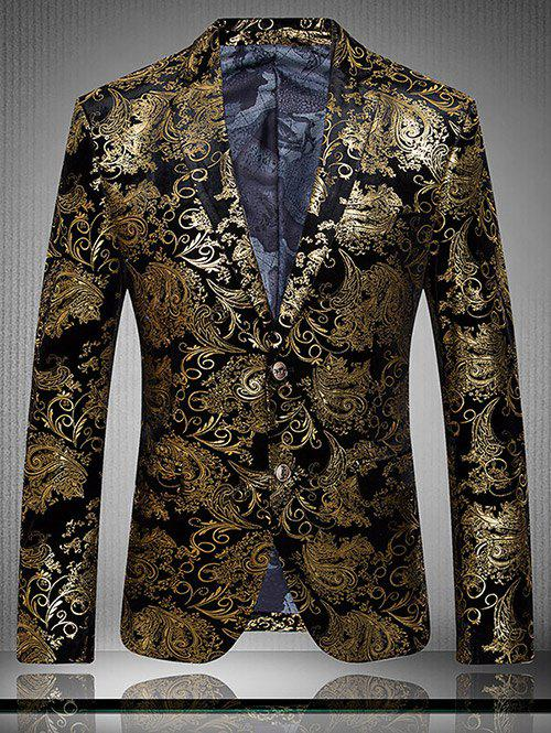 Lapel Golden Flower Print Long Sleeve Men's Blazer