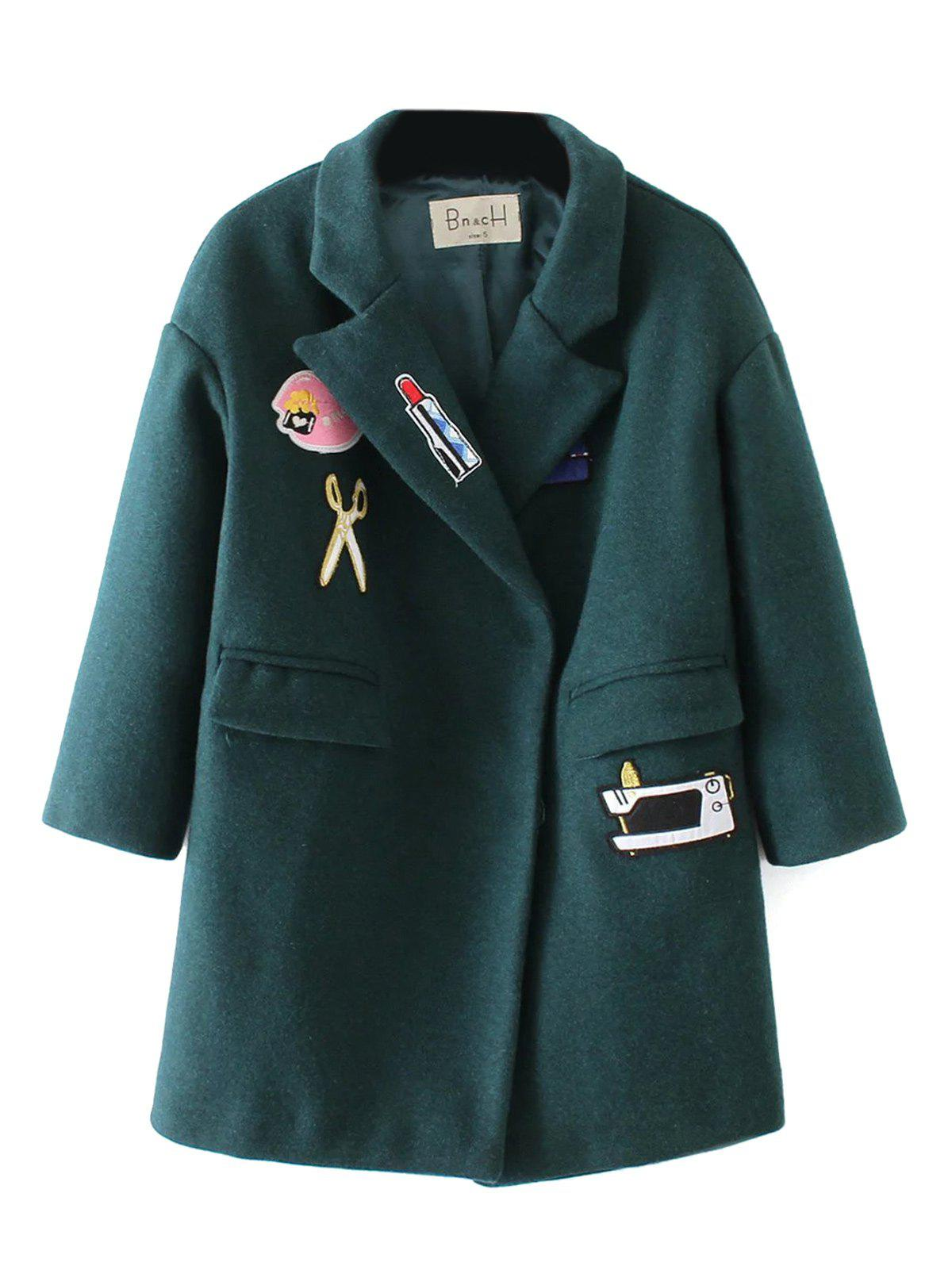 Patched Embroidery Wool Coat