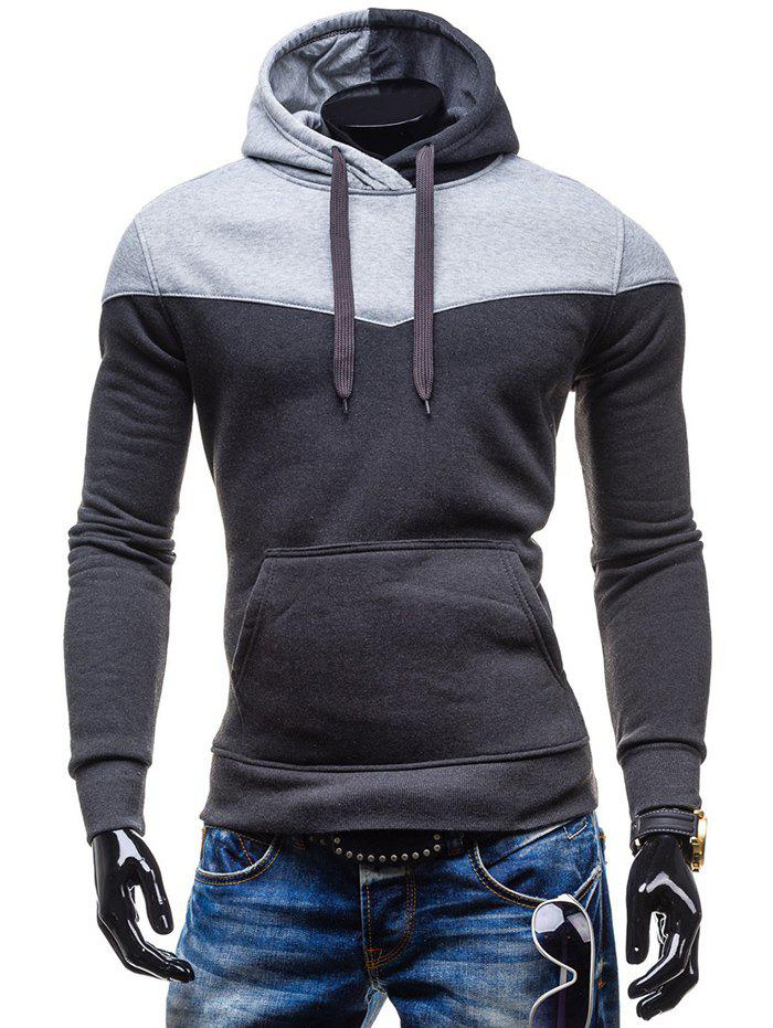 Slim Fit-Color Block Kangaroo Hoodie Pocket - gris foncé L