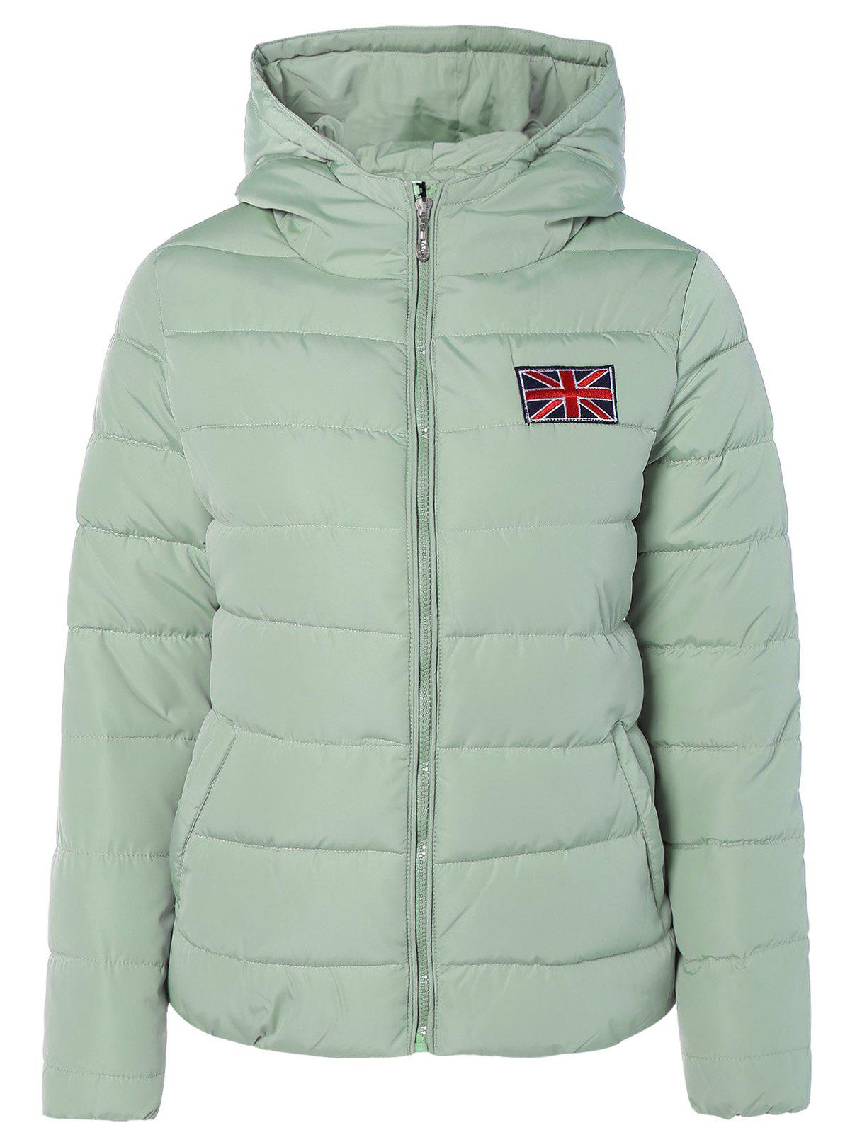 Winter England Flag Embroidery Hooded Down Jacket - LIGHT GREEN L