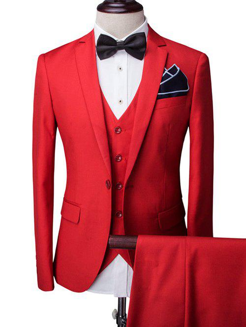One-Button Solid Color Long Sleeve Lapel Men's Three-Piece Suit ( Blazer + Waistcoat + Pants ) - RED 2XL