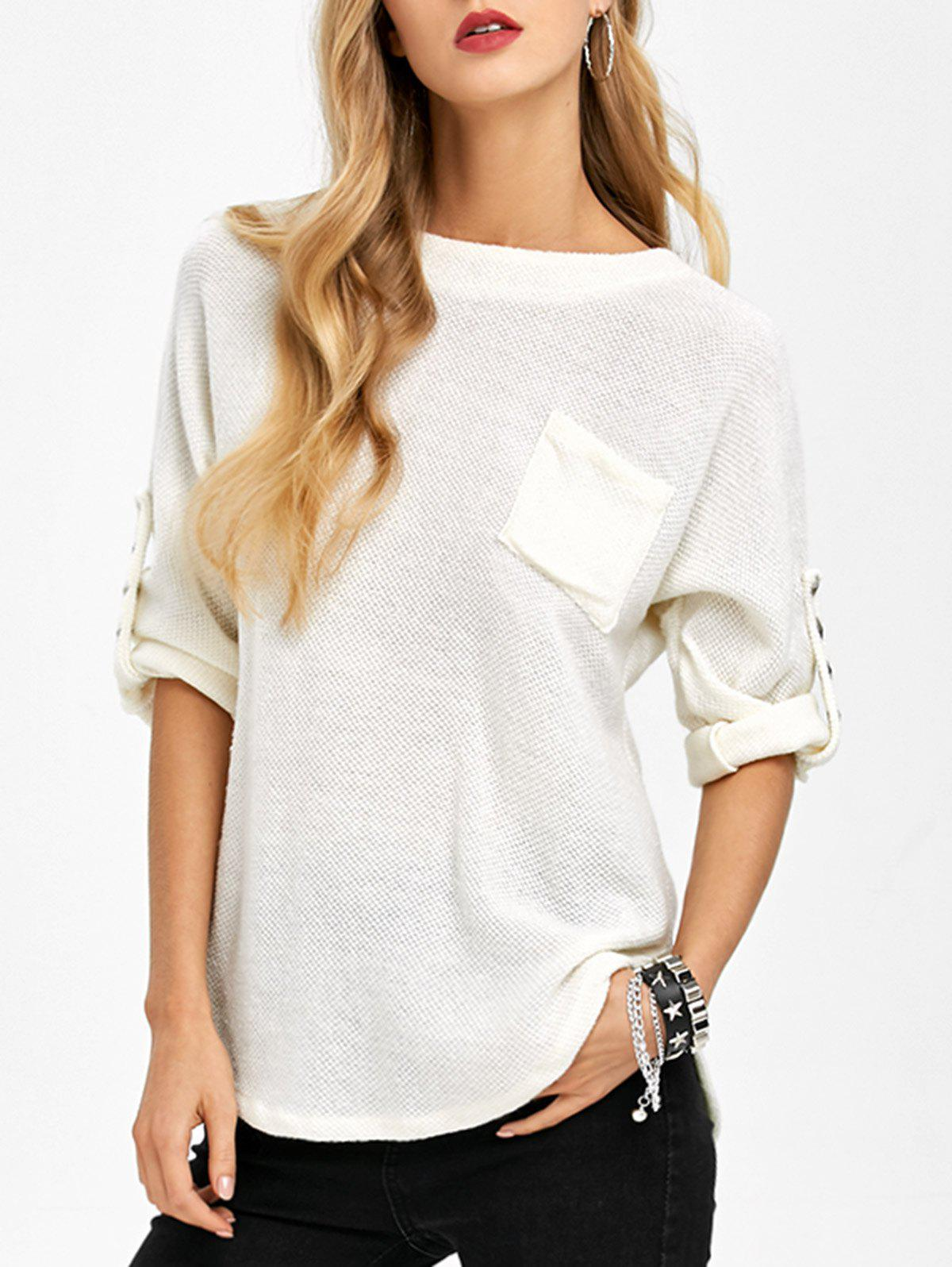 Loos Fit One Pocket Rivets Embellished Knitwear - WHITE L