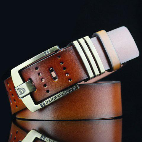 Hollow Out Letters Cameo Buckle PU Wide Belt - BROWN