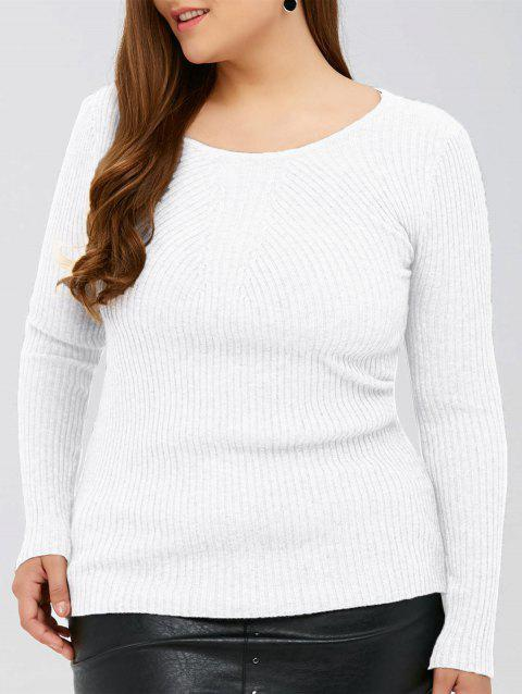 Slim Fit Ribbed Knitwear - WHITE XL