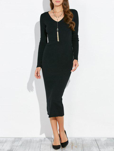 Manches longues Stretchy Packet Fesses Knitting Dress - Noir ONE SIZE