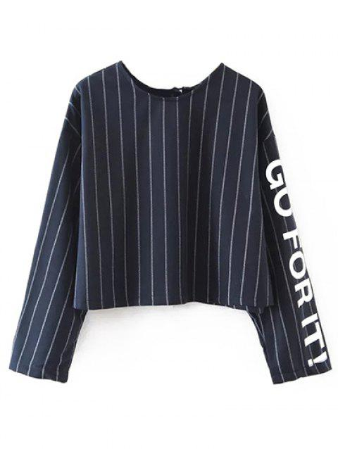 Tie Backless Stripe Lettre Sweatshirt - Bleu Violet S