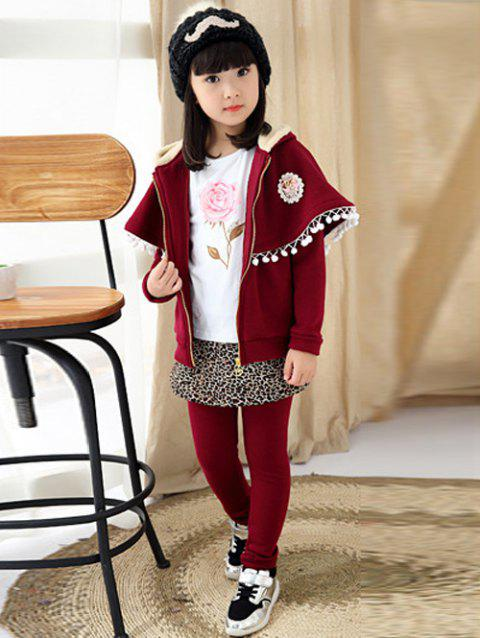 Cape Sleeve Top Pants Culottes Two-Piece Set - WINE RED 100