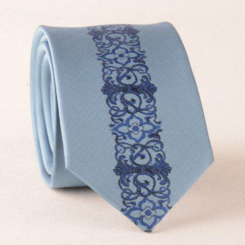 Floral Paisley Polyester Narrow Neck Tie - BLUE