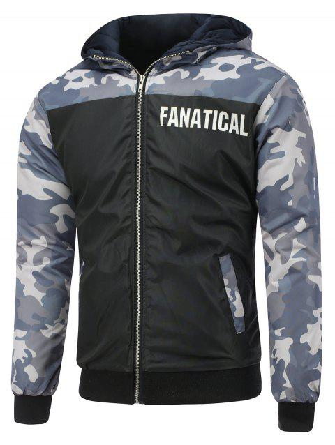 Hooded Camo Insert Zip Up Veste matelassée - Noir XL
