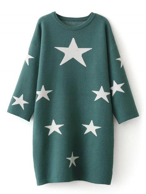 Star Jacquard Sweater Dress - CLOVER ONE SIZE