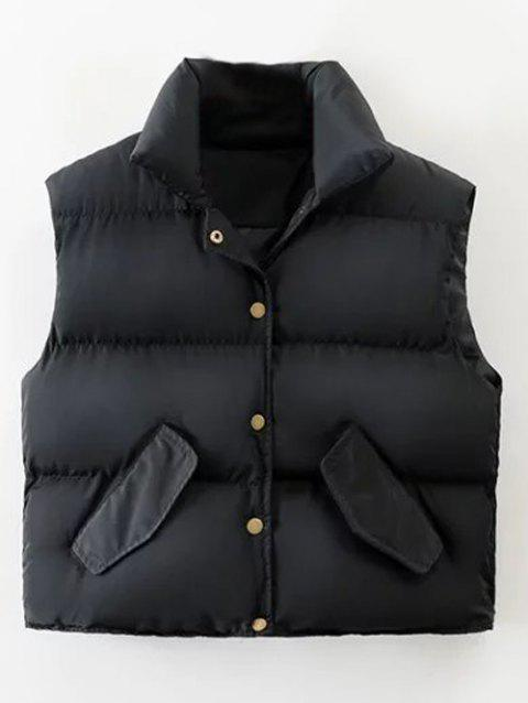 Puffer Button Up Vest - BLACK L