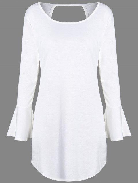 Flare Long Sleeve Backless Tunic Dress - WHITE XL