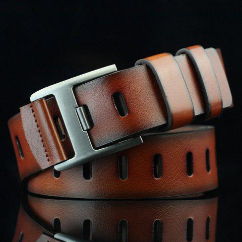 Hollow Out Wide Hole PU Belt - BROWN
