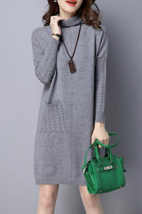 High Neck Single Pocket Knitted Dress - GRAY M