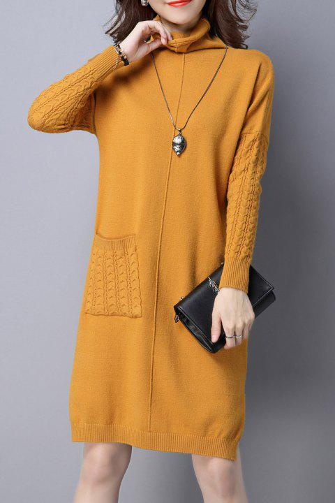 High Neck Single Pocket Knitted Dress - YELLOW L