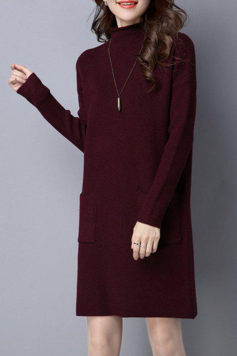High Neck Knitted Dress with Pockets - BURGUNDY ONE SIZE