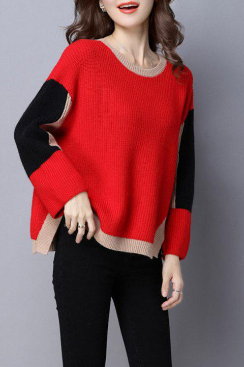 Jewel Neck Color Block Sweater - RED L