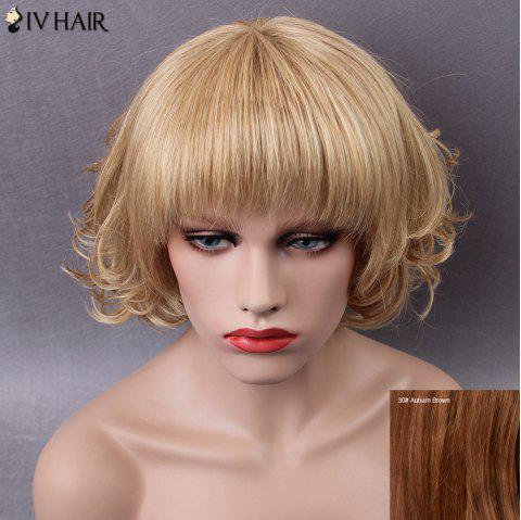 Siv Short Neat Bang Shaggy Curly Human Hair Wig - AUBURN BROWN 30