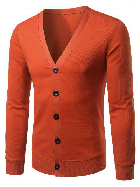 Slim Fit V Neck Button Up Cardigan - Tangerine XL