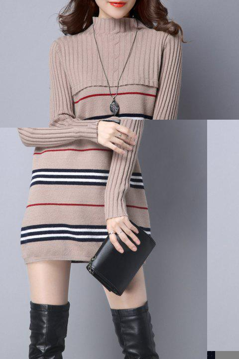 Stripe Color Block Knitted Jumper Dress - CAMEL L