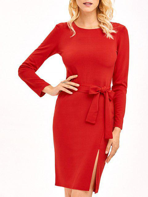 Long Sleeve Midi Bodycon Dress With Belt - RED M