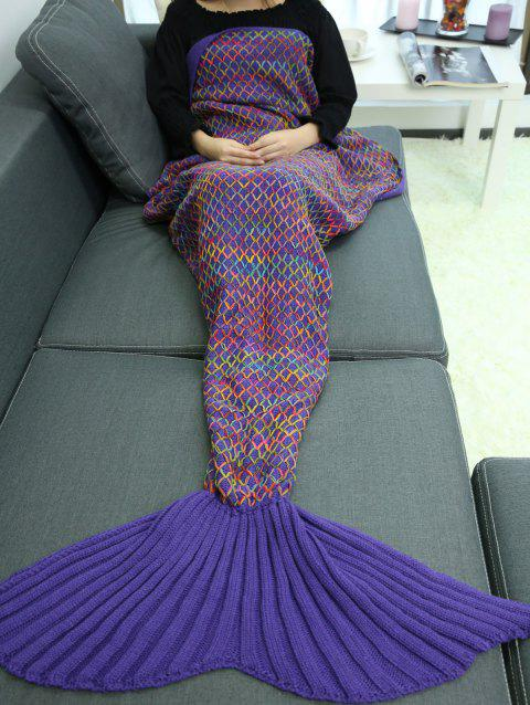 Handmade Crochet Rhombus Design Sleeping Bag Mermaid Blanket - DEEP PURPLE