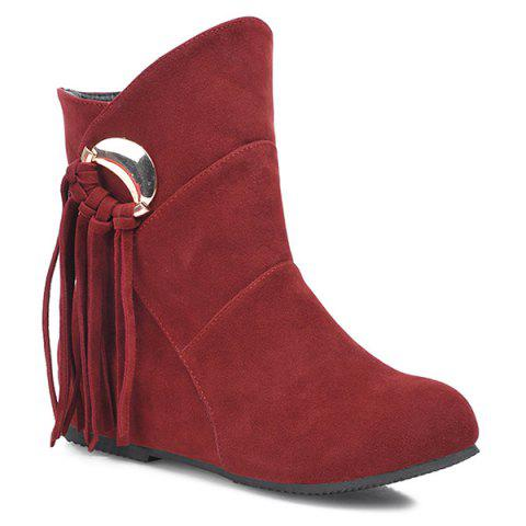 Flat Heel Metal Knot Fringe Short Boots - DARK RED 38
