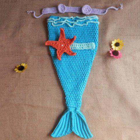 Manual Knitted Baby Photography Prop Mermaid Clothes Set - BLUE S