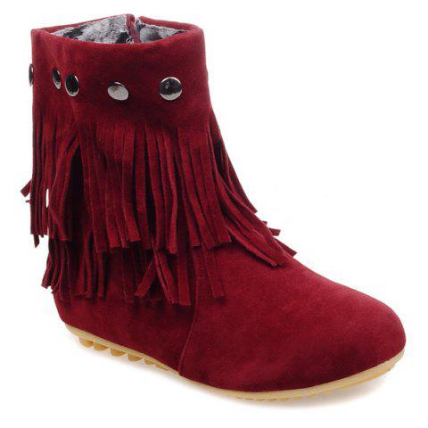 Zipper Metal Layer Fringe Ankle Boots - DEEP RED 38
