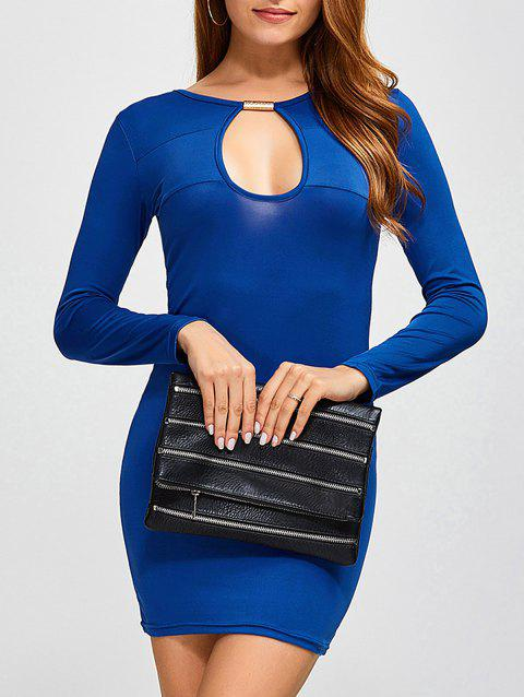 Mini Cut Out Bodycon Dress - BLUE S