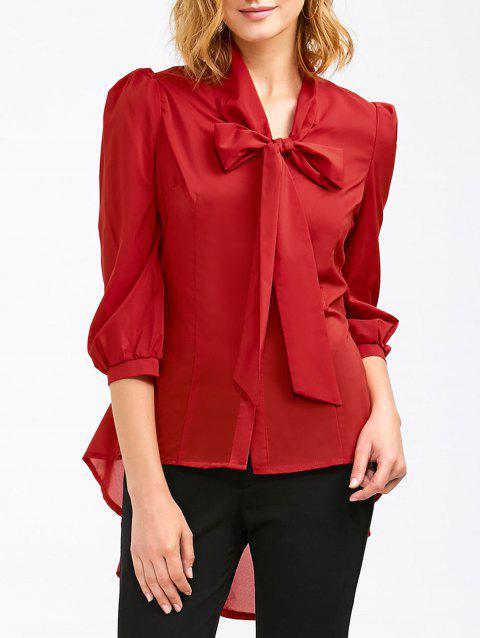 Pussy Bow High Low Hem Blouse - Rouge XL