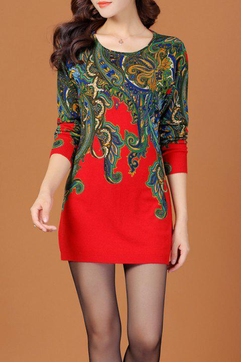 Jacquard Ethnic Sweater Dress - RED M