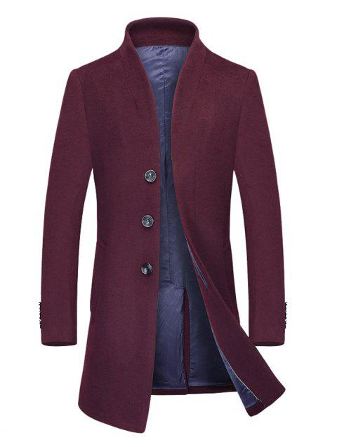 Stand Collar Single Breasted Wool Mix Coat - BURGUNDY 3XL