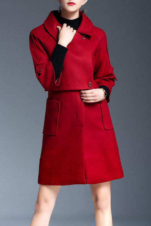 Wool Blend Coat Pockets Faux Twinset Walker - Rouge S