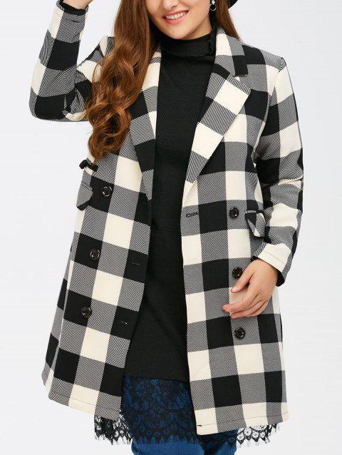 d918733732b 41% OFF  2019 Plus Size Tartan Plaid Double Breasted Coat In BLACK ...
