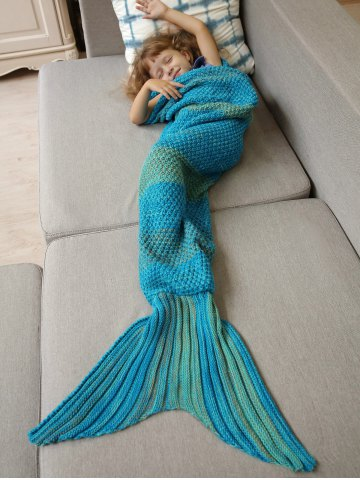 7d63abceab2 Winter Thicken Longer Color Block Design Knitted Wrap Kids Mermaid Tail  Blanket