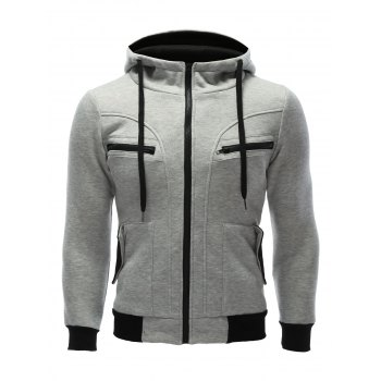 Zipper Fly Patchwork Hoodie with Pockets