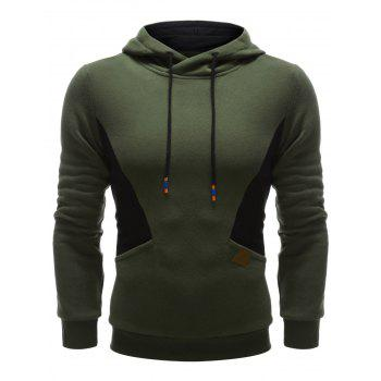 PU Leather Embellished Patchwork Pullover Hoodie