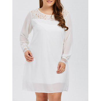 Plus Size Lacework Insert Long Sleeve Modest Work Dress